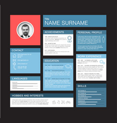 Minimalist cv resume dashboard profile template vector