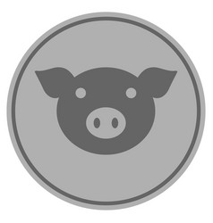 pig head silver coin vector image