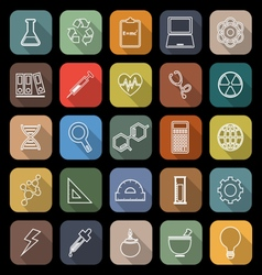 Science line flat icons with long shadow vector image vector image