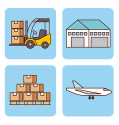 set of icons logistic delivery shipping work vector image
