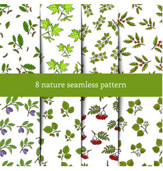 set of seamless pattern with tree branches vector image