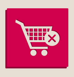 Shopping cart with delete sign grayscale vector