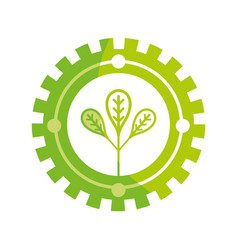 Silhouette emblem of leaves symbol to ecology care vector