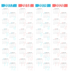 Simple calendar for next four years vector image vector image