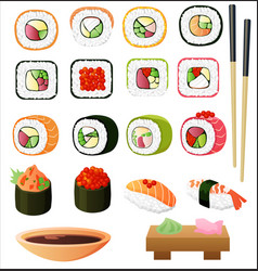 sushi set with soy sauce and chopsticks vector image