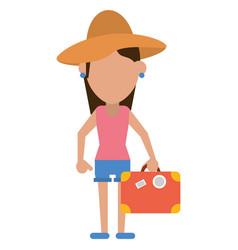 Traveler woman hat suitcase vector