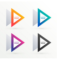 triangle banners set in four colors vector image