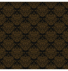 Vintage linear damask pattern with gold lines vector