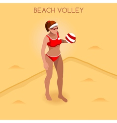 Volleyball beach 2016 summer games 3d isometric vector