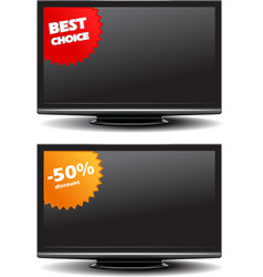 Widescreen tv with discount stickers vector image