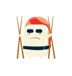 Funny maki sushi character with eating sticks vector
