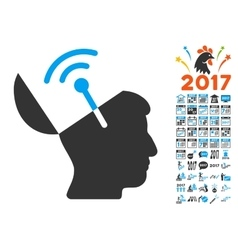 Open mind radio interface icon with 2017 year vector