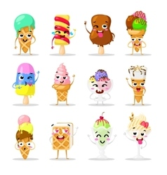 Collection sweets emotion lovely ice cream doodle vector