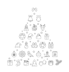 Christmas line traditional symbols simple outline vector