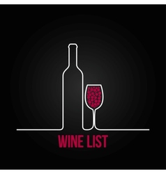 Wine bottle glass list design menu background vector