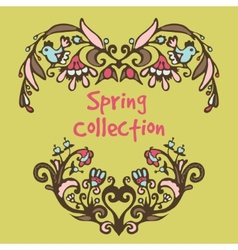 Spring border hand drawn doodles vector