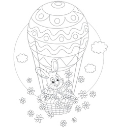 Easter Bunny flying in a balloon vector image
