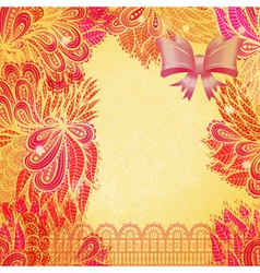Vintage pink and beige greeting card vector image