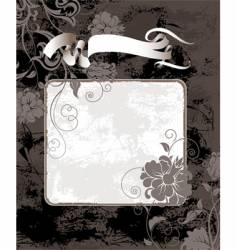 black grunge background with flowers vector image