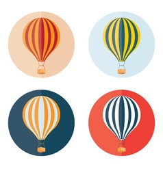 Air balloons flat design icons set vector