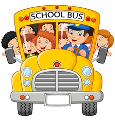 Happy children on school bus vector