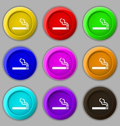 Cigarette smoke icon sign symbol on nine round vector