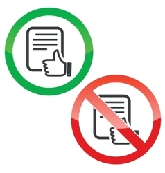 Like document permission signs set vector image