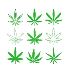 Medical marijuana or cannabis icons set vector image