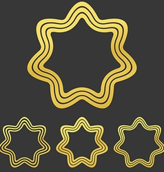 Golden line star logo design set vector