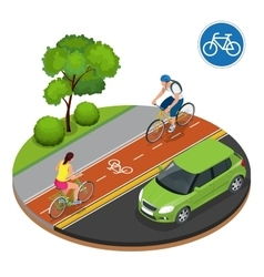 Bikers in city Cycling on bike path Bicycle road vector image