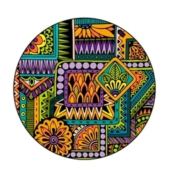 Ethnic tribal pattern in circle mosaic mandala vector