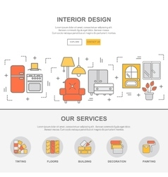 Web template with thin line icons of interior vector