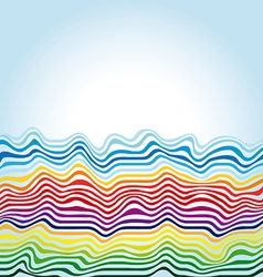 abstract rainbow waves on a blue background vector image vector image