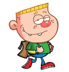 Blond Boy Walking To School vector image