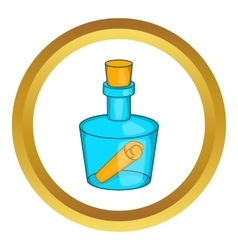 Bottle with letter icon vector