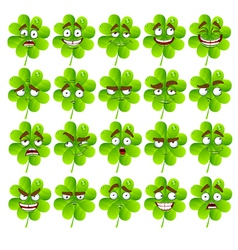 Cute cartoon four leaf clover vector