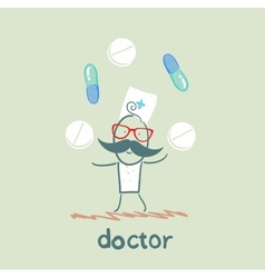 Doctor with tablets and pills vector