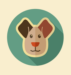 Dog flat icon animal head vector