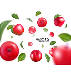 falling red apples isolated on white vector image vector image