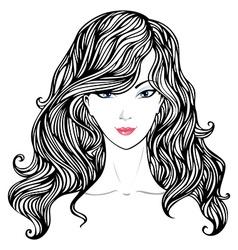 Female hand-drawn portrait vector image