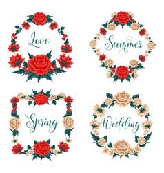 Flowers Set Floral Frames Red Roses vector image
