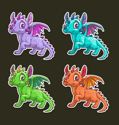 funny cartoon dragon vector image vector image