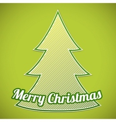 Green striped Christmas tree on green background vector image vector image