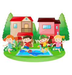 Happy children at the swimming pool vector