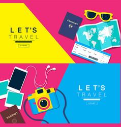 lets travel layout flat design vector image