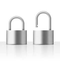 Locked and unlocked padlock vector image vector image