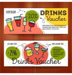 set of discount coupons for beverages vector image vector image
