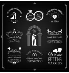 Set of wedding invitation template vintage design vector image vector image