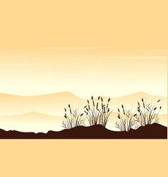 style landscape mountain with grass silhouettes vector image