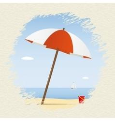 Summer theme umbrella on the beach with yacht vector